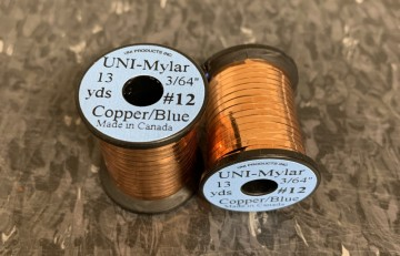 UNI Mylar to-farget flat tinsel copper/blue