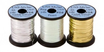 UNI Mylar to-farget flat tinsel gold/silver