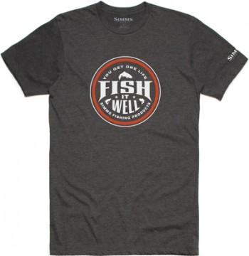 Simms Fish It Well T-Shirt Charcoal Heather