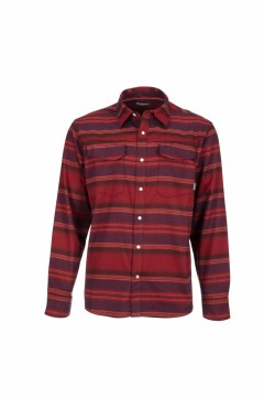 Simms Gallatin Flannel Shirt Auburn Red Stripe