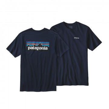 Patagonia P-6 Logo cotton t-shirt navy blue t-shirt